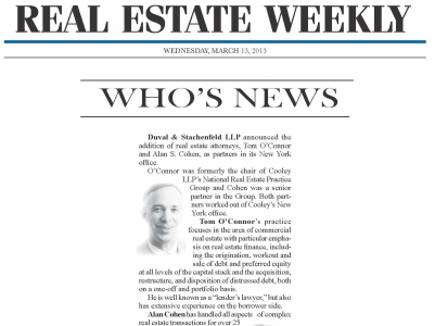 Thomas O'Connor and Alan Cohen Featured in Real Estate Weekly's Who's News