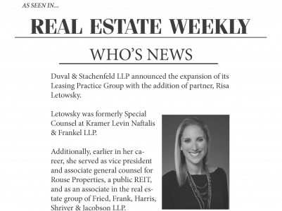 Duval & Stachenfeld Expands Leasing Practice Group With the Addition of Partner, Risa Letowsky
